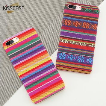 KISSCASE Case For iPhone X 8 Retro Bohemian Colorful Cloth Knitting PC Phone Cases For iPhone 7 6 6s Plus 5 5s SE Coque Fundas