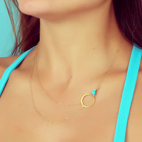 "Layering necklace, turquoise necklace, assymetrical necklace, simple gold necklace, bridesmaid necklace,  silver circle necklace, ""Sinope"""
