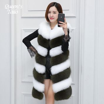 Queen's Tailo Woman Faux Fur Vest Color Patched Midi Long Winter Coat High Quality Fake Fur Coat
