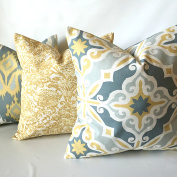 Gold Grey Pillow Set -  18 x 18, Set of Three, Yellow Gray Pillows, Saffron Dove, Ikat Geometric Pillow, Cushion Cover Set, Modern Decor