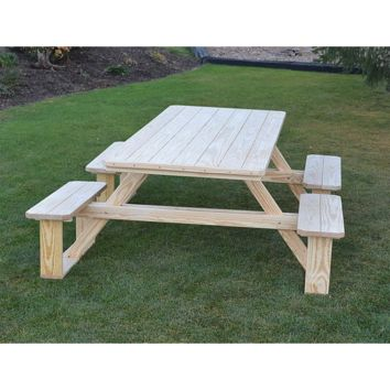 "A & L Furniture Co. Pressure Treated Pine 8' Walk-In Table - Specify for FREE 2"" Umbrella Hole  - Ships FREE in 5-7 Business days"