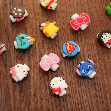 Cartoon Kawaii Animals Stitch Hello Kitty Batman USB Cable Earphone Line Saver For Mobile Phone Charging Data Line Protector EB