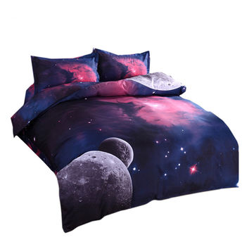 Starry Sky Home Textiles Beding 3D 4 pcs Beding Quilt Cover Flat Sheet Pillow Case x2   02