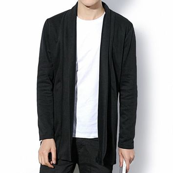 2017 Hot Sell autumn fashion brand men's pure color long thin cardigan body sweater Middle- Long length Male Hot Design