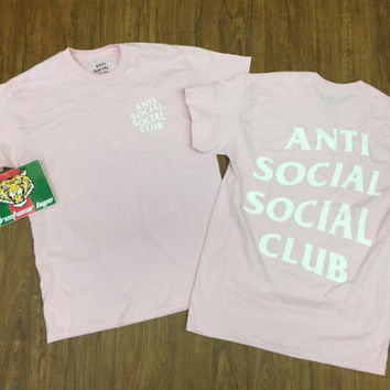 AntiSocial Club Baby Pink W White Club Tee 2 White/ ASSC / Kanye West Anti Social  Cash Me Outside How Boutanti social club