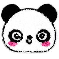 Large 11cm Chenille Blushing Panda Bear Head Patch Applique