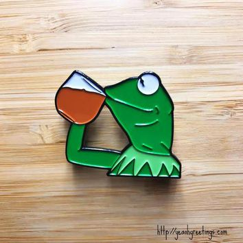 "Funny Frog Enamel Pin, Cute Jewelry, 1.5"" Lapel Pin, Pin Button, Cute Soft Enamel Pin, Internet Meme, Pop Culture Pins, Cute Pins"