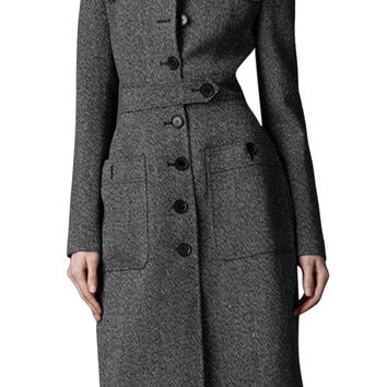 SAF-Women Fit Long Trench Coat Full Length Wool Blend Jack Gray