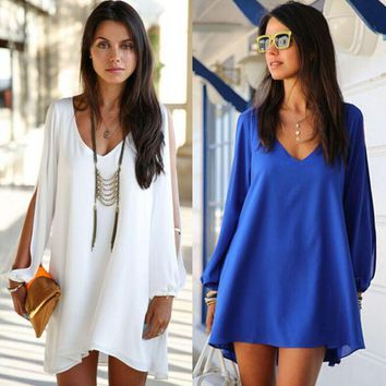 ONETOW Long Ripped Cuff Sleeve V-Neck Mini Dress