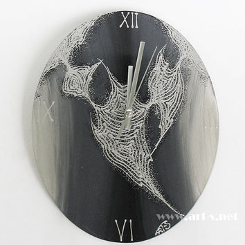 Modern Glass Wall Clock in Silver, Grey and Black- 28/22 cm Wall Clock Kitchen Clock - Hand painted Wall Clock - Home Decor - Wall Decor