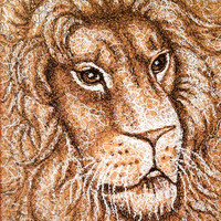 Original Drawing, Lion with Swirls, animal drawing, pen and ink drawing, wild animal, handmade wall art, gift, Africa, Christmas gift