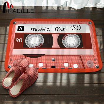 Miracille Creative Design Cassette Tape Printed Funny Rugs Durable  Indoor Outdoor Floor Mat Coral Velvet Non Slip Bathroom Mats