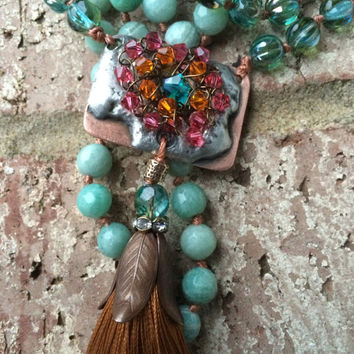 Long tassel necklace, spring colors, artisan pendant, faceted amazonite
