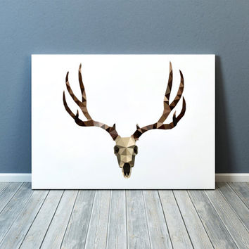 Deer skull art Modern decor Colorful print Animal poster TOA86