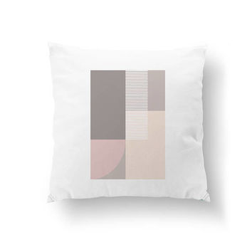 White Pillow, Home Decor, Pink Gray, Subdued Colors, Decorative Pillow, Simple Decor, Pastel Art, Textured Art, Cushion Cover, Throw Pillow