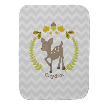 Deer Wreath Gray Chevron Baby Burp Cloth - Boy