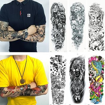 1 Sheets Full Arm Leg Extra Large Temporary Tattoos, Body Art For Men And Women