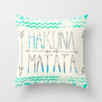 Hakuna Matata Throw Pillow by Sara Eshak | Society6