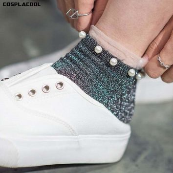 [COSPLACOOL]2017 Vintage Glitter Sox Silver Onions Pearl Beading Female Sox Shiny Harajuku Soft Ladies Funny Transparent Hosiery