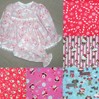Custom girls Christmas pajamas , 5 Christmas fabrics , sizes 1T 2T 3T 4T 5T 6 , Christmas photo , cotton flannel ,  lace trim