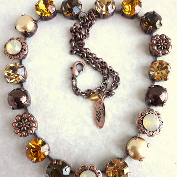 Swarovski Crystal Necklace in neutral tones, topaz, browns, opals, better than sabika, large stones