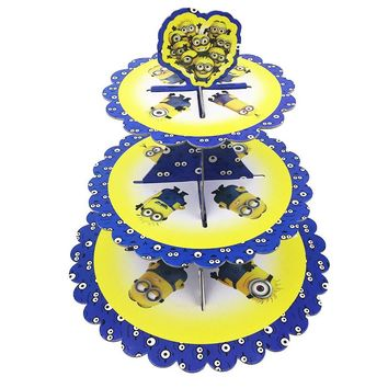 1set NEW Minions Princess 3-tier Paper Cake Stand Baby Shower Supplies Kids Birthday Party Decoration Cupcake Stand Candy Bar