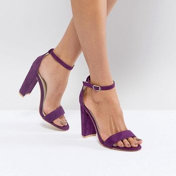 Glamorous Purple Barely There Block Heeled Sandals at asos.com