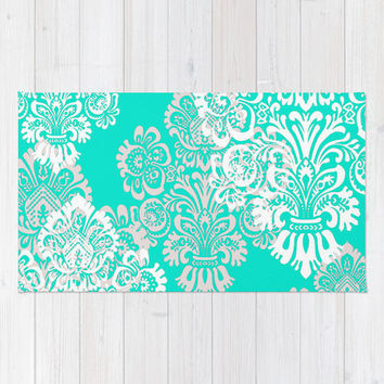 Floor Rug, Tiffany Blue Decor, Girls Room Decor, Damask