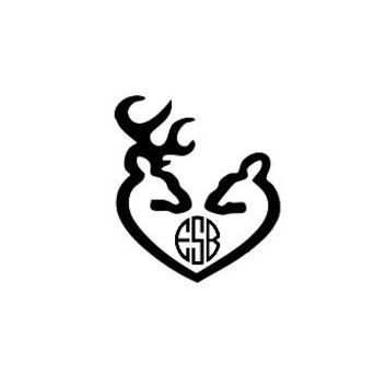 Monogrammed Buck and Doe Decal For Car, Laptops, or Weddings