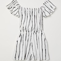 Off-the-shoulder Jumpsuit - White/black striped - Ladies | H&M US