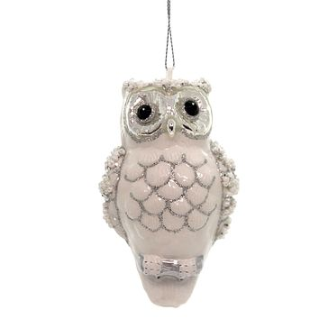 Holiday Ornaments SPARKLE OWL Glass Bird Christmas Wisdom 6002669