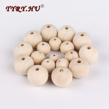 TYRY.HU 5Pcs/Lot Four Kinds of Size Natural Wooden Round Beads DIY Kids Necklace or Bracelet Accessories Wooden Teether Baby Toy