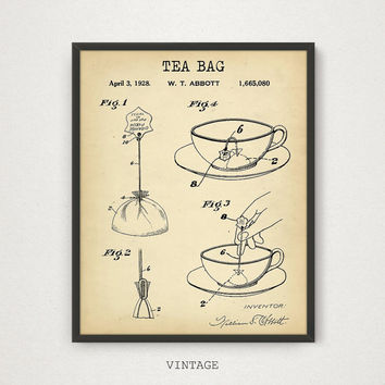 Tea Bag Patent Print, 4 COLORS Printable, Kitchen Wall Art, Tea Lover Gallery Wall, Tea Poster, Vintage Tea Bag, Kitchen Decor Tea Print