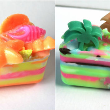 summer soap, seashell soap, palm tree soap, beach soap, unique soap, pink and yellow, summer soap favors, fun soap, starfish soap, sea shore