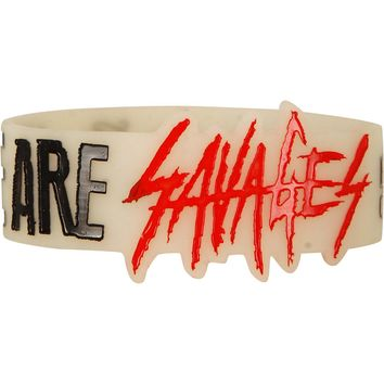 Breathe Carolina Men's We Are Savages Rubber Bracelet White