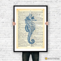 Seahorse dictionary wall art print-seahorse poster-seahorse print-coastal wall art-beach art-nautical decor-sea life art-NATURA PICTA-NPS014