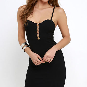 For the Thrill Black Bodycon Dress