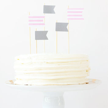 Cake Topper Girls First Birthday Light Pink and Grey Flag Toppers Stripe Pennants Party Supplies Cake Decoration Girl Baby Shower / Set of 5