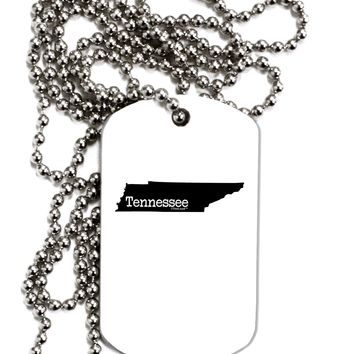 Tennessee - United States Shape Adult Dog Tag Chain Necklace by TooLoud