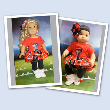 "American girl doll clothes Bitty Baby doll clothes ""Go Red Raiders""  ensemble (18 inch) cheerleader outfit  Red Raider tutu Texas Tech hair"