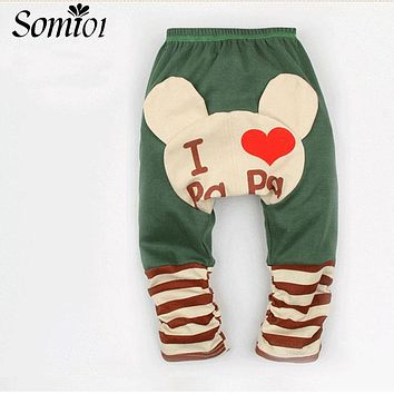Baby Leggings Boys Girls PP Pants Cute Cartoon Bear Print I Love Mama Papa Cotton Trousers Autumn Spring Kids Children Clothing