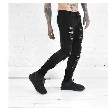 kanye west represent clothing designer pants slp black destroyed mens slim denim straight biker skinny jeans men ripped jean
