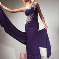 2014 New Styles Trumpet/Mermaid One Shoulder Chiffon Grape Long Prom Dress/Evening Gowns With Beading VTC065