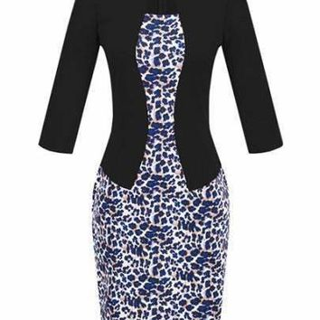 Leopard 3/4 Sleeve Office Work Business Party Women's Sheath Dress (Plus Size Available)