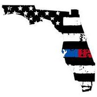 Thin Blue Red line decal - State of Florida tattered Flag Decal - Various Sizes