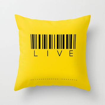 live as though - yellow Throw Pillow by Steffi by findsFUNDSTUECKE