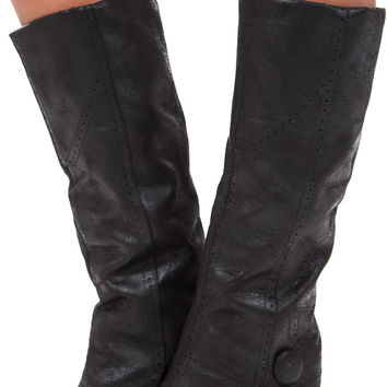 Black Overlay Button Heel Boot