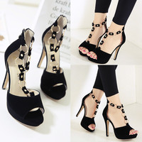 Summer Fashion  Hollow Steel-ring T Tape Zip Exposed Toe Sandals Platform Heels Shoes