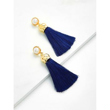 Tassel Drop Earrings With Faux Pearl Navy