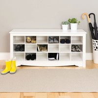 White Shoe Rack 18-Cubbie Bedroom Entryway Closet Storage Bench